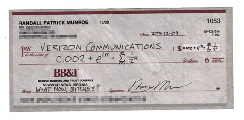 Verizon cheque