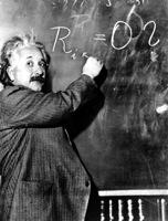 Einstein voor het bord