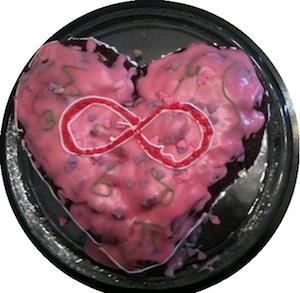 Deze mooie liefde-en-wiskunde-taart kregen Han en ik dit weekend van Sidney en Petra, dankjewel!