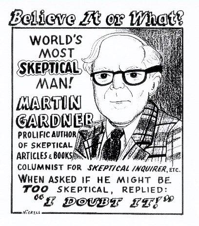 Cartoon over Martin Gardner uit 1996, hij was dus zeer terecht ook columnist voor Skeptical Inquirer.